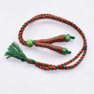 Green With Red Twisted Cotton Thread Neck Rope