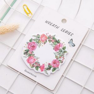 Pink Floral Wreath Sticky Notes