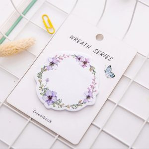 Lavender Floral Wreath Sticky Notes
