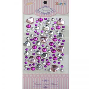 Self Adhesive Round & Heart Mixed Color Stone Sticker