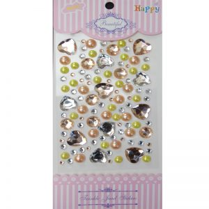 Self Adhesive Round & Heart Mixed Color Stone And Pearl Sticker