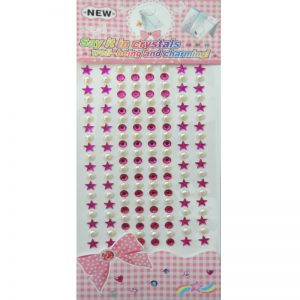 Self Adhesive Round & Star Hot Pink & White Stone And Pearl Sticker