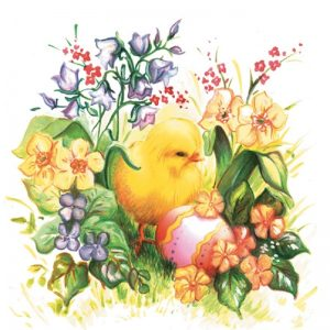 Chick And Pink Egg In The Garden Decoupage Napkin