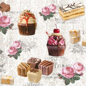 Cup Cakes Chocolates With Roses Decoupage Napkin