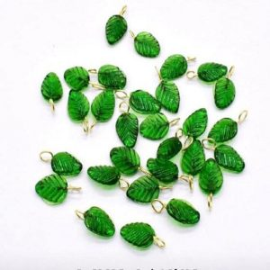 Dark Green Glass Leaf Shape Charms