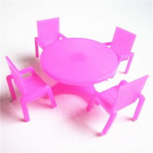 Miniature Pink Round Table With Chairs
