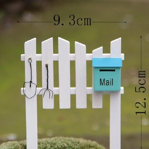 Miniature White Fence With Mail Box & Tools