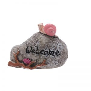 Miniature Welcome Sign Stone With Snail