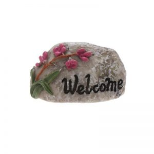 Miniature Welcome Sign Stone With Flower