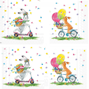 Bunny Cycle Ride With Easter Egg Decoupage Napkin