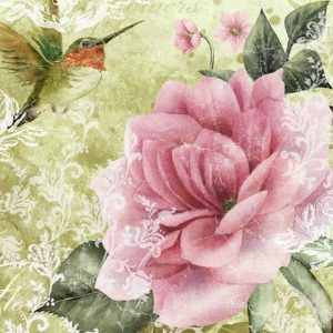 Hummingbird In Rose Garden Decoupage Napkin