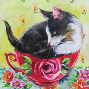 Cat Sat On Rose Printed Cup Decoupage Napkin
