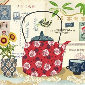 Flower Print Kettle With Sunflower Pot Decoupage Napkin