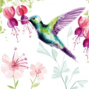 Mixed Colour Painted Humming Bird Decoupage Napkin