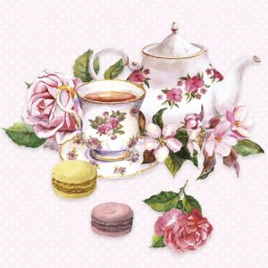 Tea Kettle With Rose Flower Decoupage Napkin