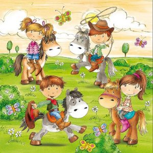 Kids Playing With Pony Decoupage Napkin
