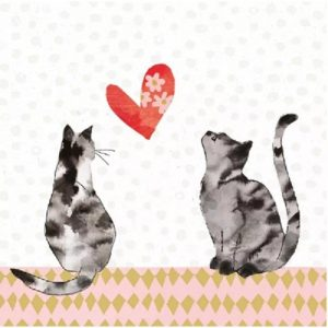 Two Cats Love Decoupage Napkin