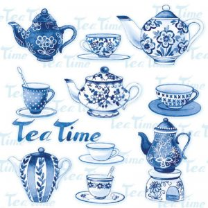Tea Time In Blue Decoupage Napkin