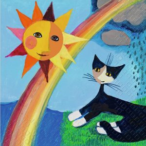 Cartoon Painted Cat Rainbow And Sun Decoupage Napkin