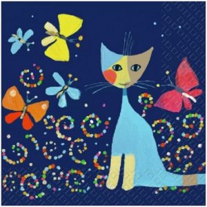 Cartoon Painted Cat And Butterfly Decoupage Napkin