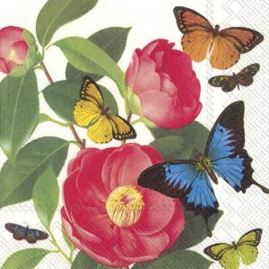 Red Flowers With Butterfly Decoupage Napkin