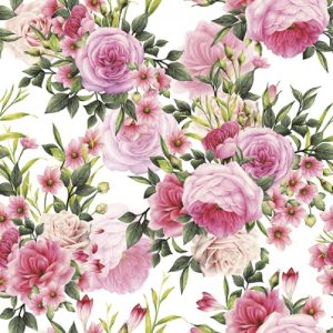 Rose Twigs with Leaves and Flowers Decoupage Napkin