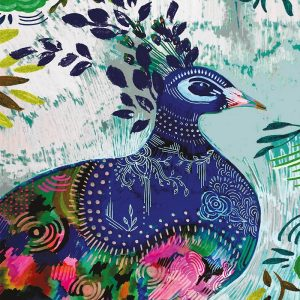 Blue Painted Peacock Decoupage Napkin