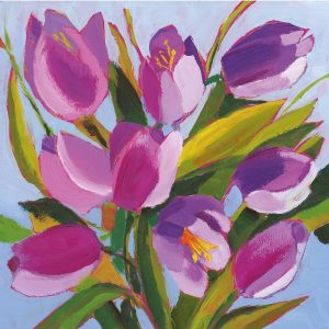 Painted Purple Tulip Flowers Decoupage Napkin