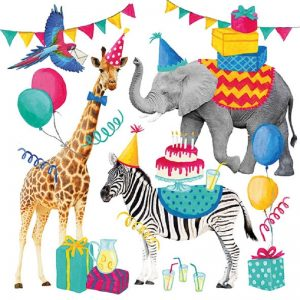 Animal Birthday Party Decoupage Napkin