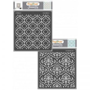 CrafTreat Stencil Scrapbook Fabric Reusable Painting Template for Home Decor Wood 6x6 inches Tile Decoration and Printing on Paper Wall DIY Albums Crafting Floor Hexagon Doily