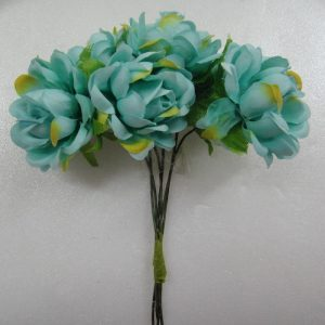 Fabric Flower  - Turquoise Blue With Yellow