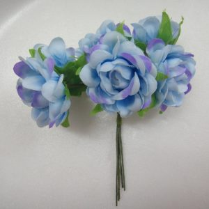 Fabric Flower - Blue With Lavender