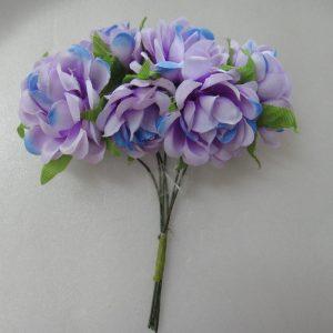 Fabric Flower - Lavender With Blue