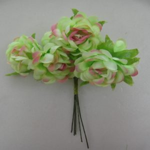 Fabric Flower - Green With Pink