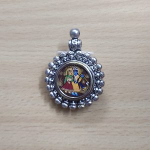 German Silver Lord Radha and Krishna Pendant