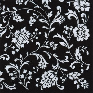 White  Flowers On Black Background Decoupage Napkin