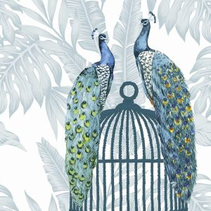 Two Peacock On Cage Decoupage Napkin