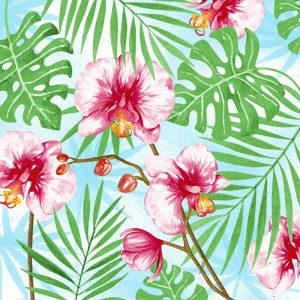 Pink Tropical Painted Flowers Decoupage Napkin