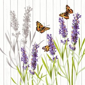 Purple Flowers With Butterfly Decoupage Napkin