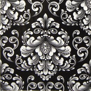 White Damask Black Background Decoupage Napkin