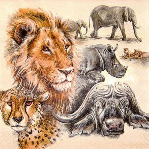 The Big Five Animal Decoupage Napkin