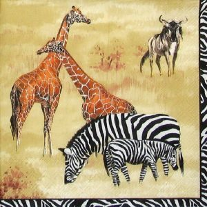 Zebra And Giraffe Decoupage Napkin