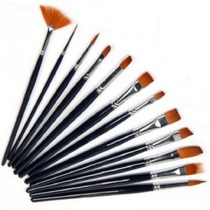 12 Pieces Painting Brush [Included Flat, Round And Fan]