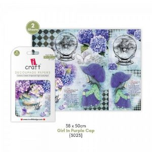 iCraft Decoupage Paper- Girl In Purple Cap