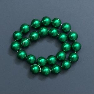Faux Pearl Round Beads - Dark Green