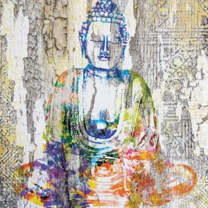 Mixed Colour Painted Buddha Decoupage Napkin