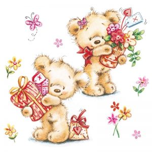 Teddy With Gifts Decoupage Napkin