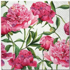 Pink Flower With Leaf Decoupage Napkin