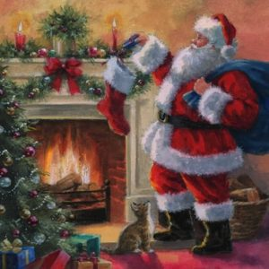 Santa Placing Gifts In Stockings Decoupage Napkin