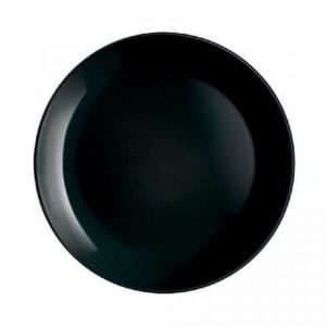 Black Round Glass Plate